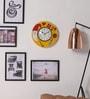 ShriNath Yellow MDF 11.5 Inch Round Santa Close Handicraft Wall Clock