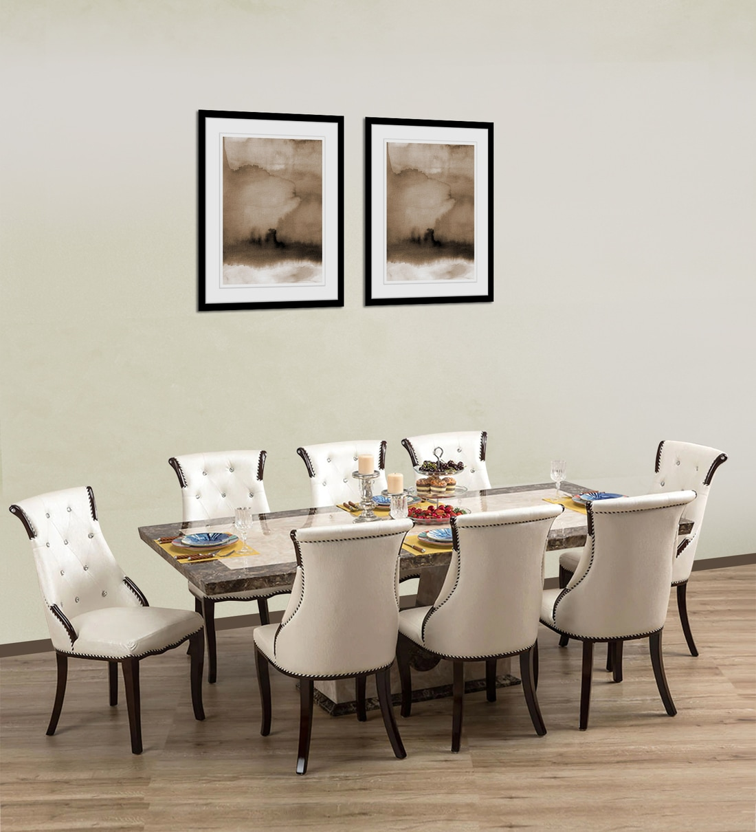 Siberian Marble Top 8 Seater Dining, Marble Dining Room Table