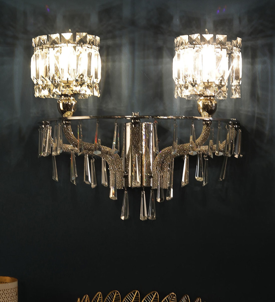 Image of: Buy Silver Crystal Wall Sconces By Jainsons Emporio Online Traditional Wall Sconces Wall Lights Lamps Lighting Pepperfry Product