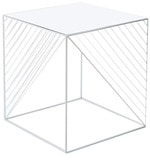 MOD End Table with Clear Glass Top in White Colour
