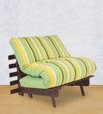 Single Futon Sofa cum Bed with Mattress in Green Lines Colour