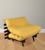 Single Futon Sofa cum bed With Mattress in Yellow Colour