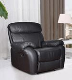 Single Seater Half Leather Manual Recliner Rocker Sofa in Black Colour