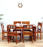 Siramika Six Seater Dining Set in Honey Oak Finish