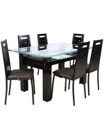Black Oak Six Seater Dining Set in Brown Colour