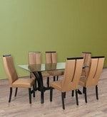 Madrid Six Seater Dining Set with Glass Top & High Back Chairs in Brown Colour