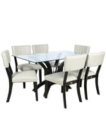 Six Seater Dining Set with Glass Top in Black Colour