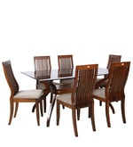 Six Seater Dining Set with Glass Top in Brown Colour