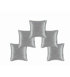 Silver Dupion Silk 16 X 16 Inch Cushion Covers - Set Of 5