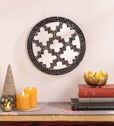Silver MDF & Glass Decorative Mosaic Mirror