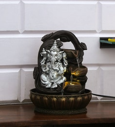 Silver Polyresin Ganesha Wealth Water Fountain