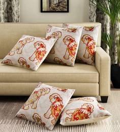 Silver Velvet Digital Print Set Of 5 Cushion Covers