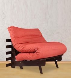 single futon sofa cum bed with mattress in red colour