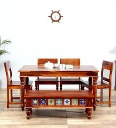 Siramika Six Seater Dining Set In Honey Oak Finish