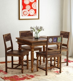 Siramika Solid Wood Four Seater Dining Set In Provincial Teak Finish