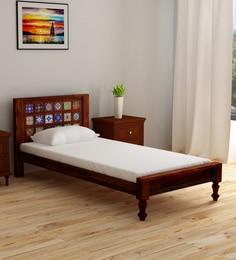 Siramika Solid Wood Single Bed In Honey Oak Finish ...