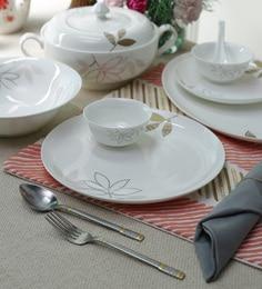 Leaf Print Bone China Dinner Set - Set Of 35