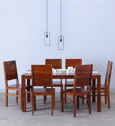 Oriel Six Seater Dining Set In Honey Oak Finish
