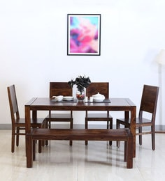 Oriel Six Seater Dining Set With Bench In Provincial Teak Finish