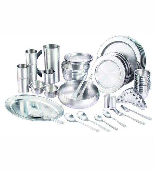 Silver queen stainless steel dinner set 57 pcs by silver for Naaptol kitchen queen set