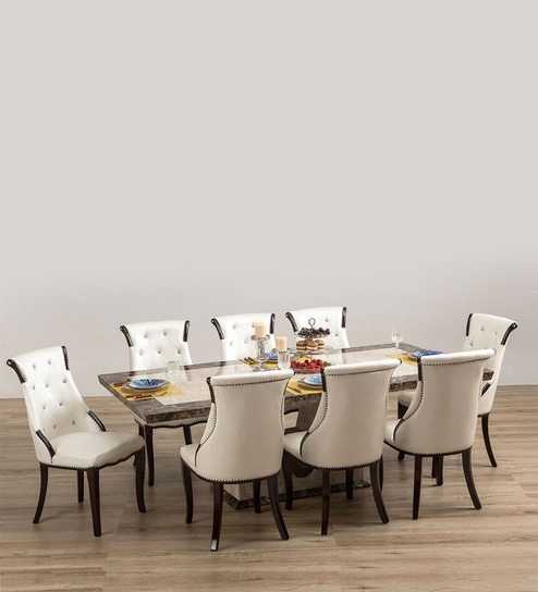 Pepperfry & Siberian Marble Top Eight Seater Dining Set by Durian