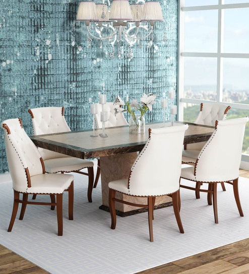 new styles 1dc34 bfb61 Siberian 6 Seater Dining Set in White Colour by Durian