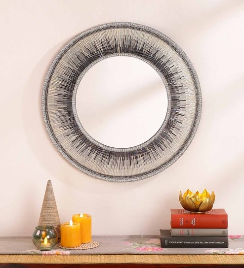 Silver & Blue MDF & Glass Decorative Mosaic Mirror
