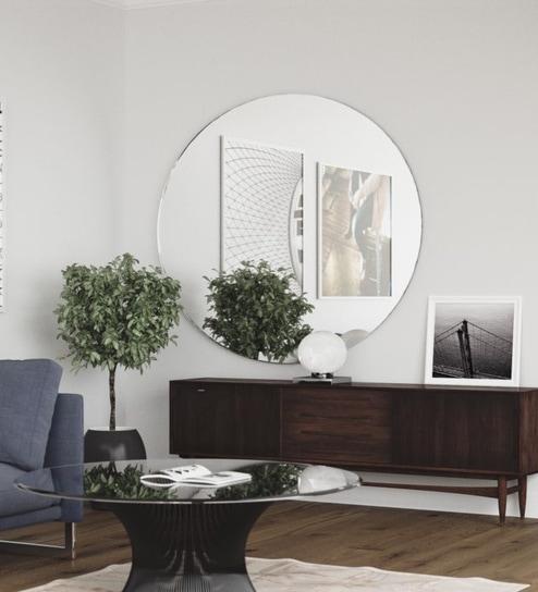 Silver Gl 24 Inch Round Frameless Bevelled Decorative Wall Mirror By Elegant Arts Frames