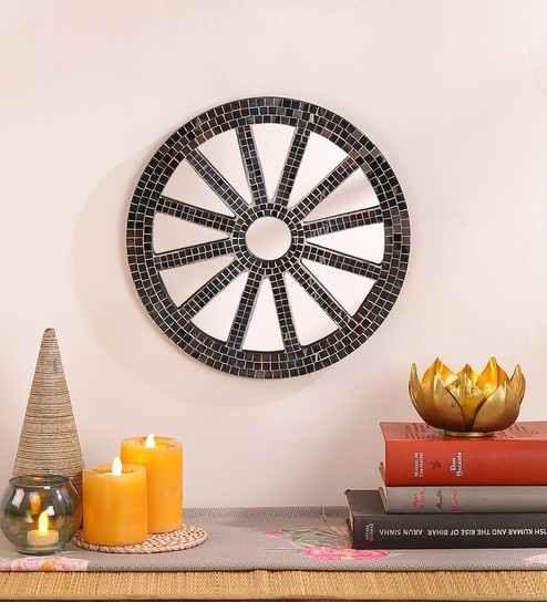 Silver MDF & Glass Decorative Mosaic Equipage Mirror