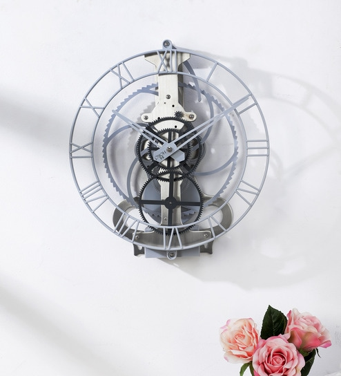 Silver Metal Centre Gear Pendulum Wall Clock by Horo