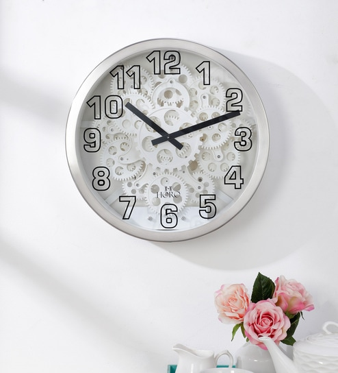 Silver Metal Gear Clock Centre Gear Rotates Wall Clock by Horo