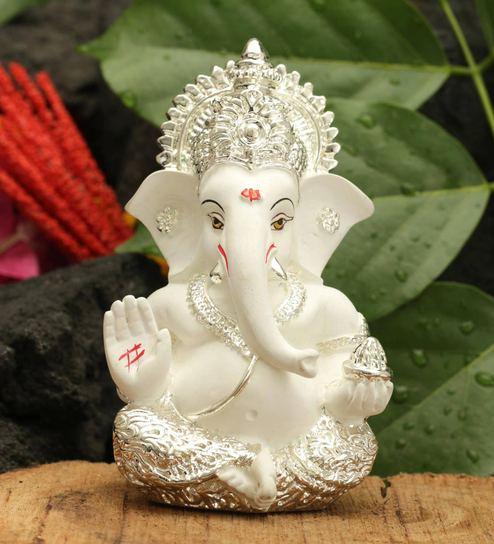 Buy Silver Plated Ganesha For Car Dashboard Idol By