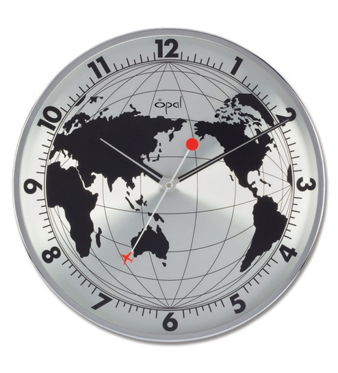 Buy World Map Clock. Silver Finish Stainless Steel Wall Clock by Opal Buy Online