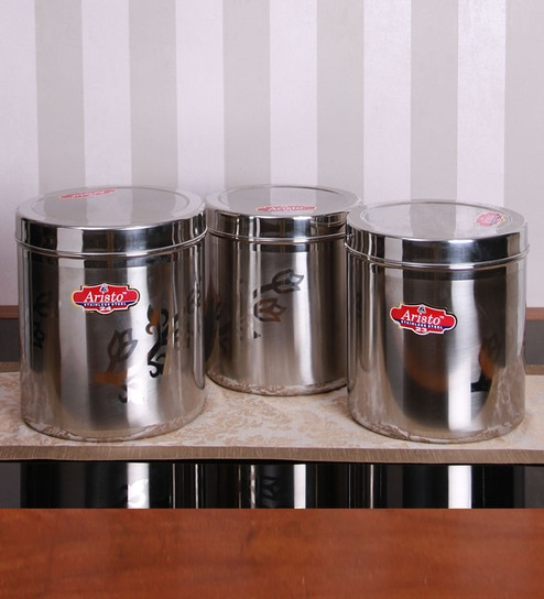 Buy Silver Stainless Steel Round Containers Set of 3 by Aristo