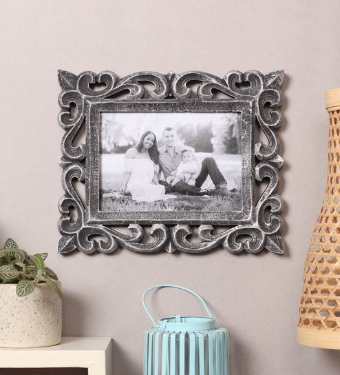 Buy Silver Wooden Handcrafted Photo Frame Distress Finish By Yatha
