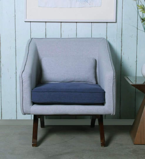 Silvia One Seater Sofa in Light Grey and Blue Colour by CasaCraft