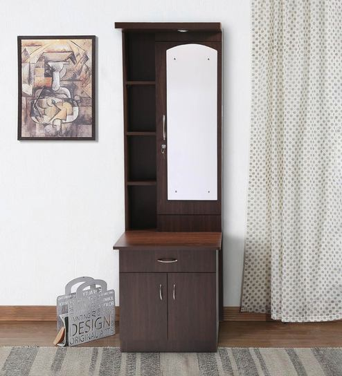 huge discount 4145d 664e9 Single Shelf Dressing Table with Focus Light in Brown Finish by Stunica