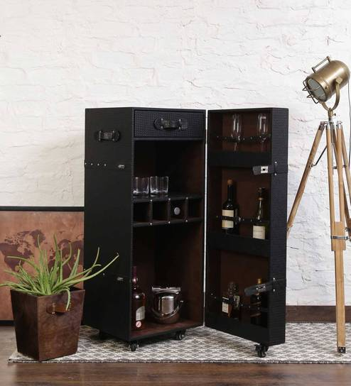 bar trunk furniture. leather trunk bar cabinet in black colour by studio ochre furniture a