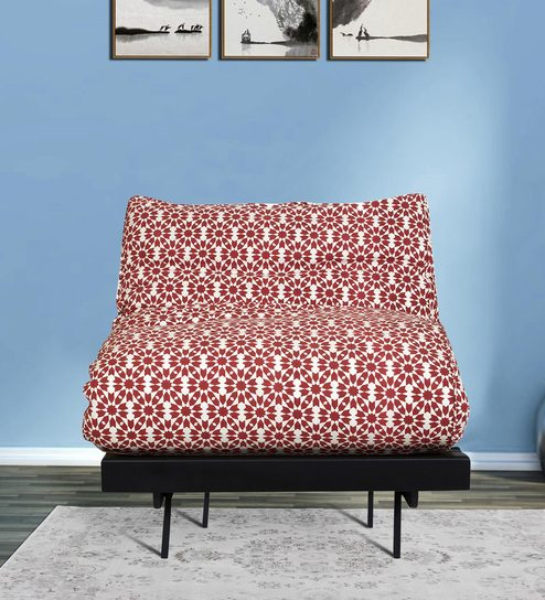 Single Futon Sofa Bed With Mattress In Brick Red Colour By Arra