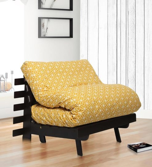 Single Futon Sofa Bed With Mattress In Ochre Colour By Arra