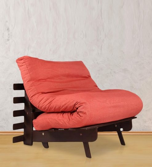 Single Futon Sofa Bed With Mattress In Red Colour By Arra