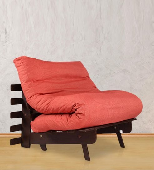 Single Futon Sofa Bed With Red Mattress By Arra