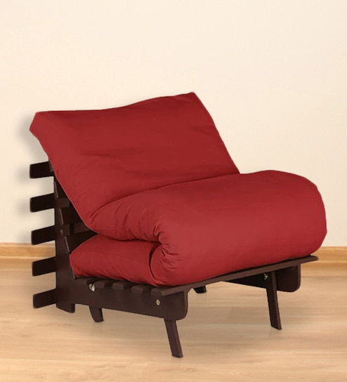 Single Futon With Mattress In Red Colour By Auious Home