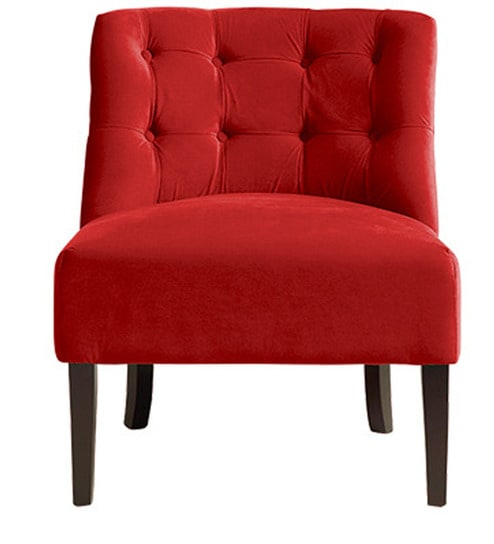 Single Seater Sofa In Red Colour By Afydecor