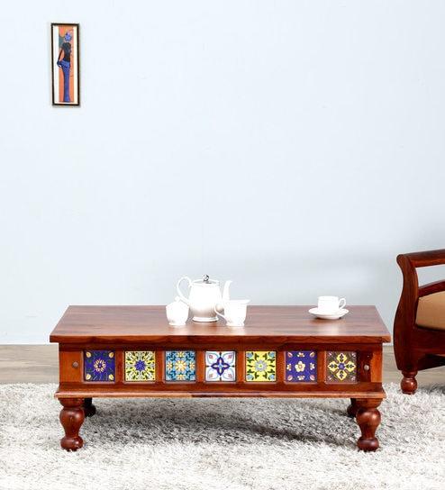 Siramika Coffee Table in Honey Oak Finish by Mudramark