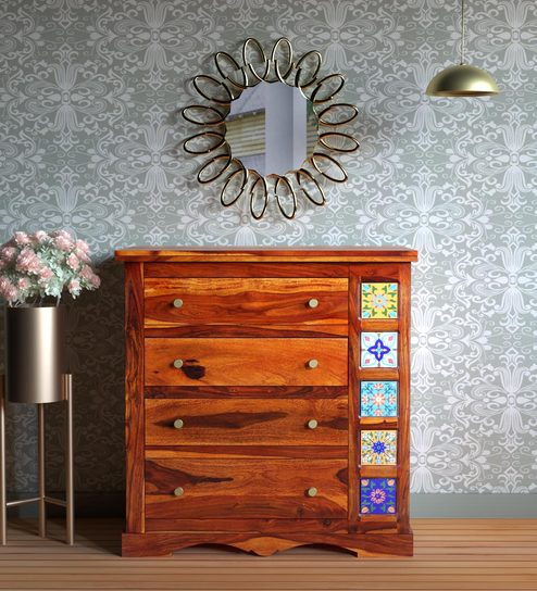 e0055624bcc Buy Siramika Solid Wood Chest of Drawers in Honey Oak Finish by Mudramark  Online - Indian Ethnic Chest of Drawers - Chest of Drawers - Furniture -  Pepperfry ...
