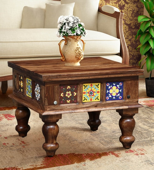 Buy Siramika Solid Wood Coffee Table In Rustic Teak Finish By