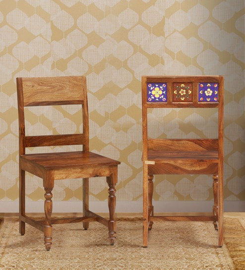 Siramika Solid Wood Dining Chair Set Of 2 In Rustic Teak Finish By Mudramark