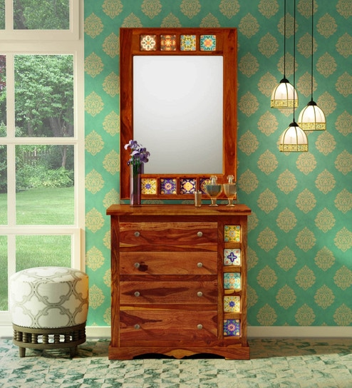 sneakers for cheap 8ce50 46914 Siramika Solid Wood Dressing Cabinet in Honey Oak Finish by Mudramark