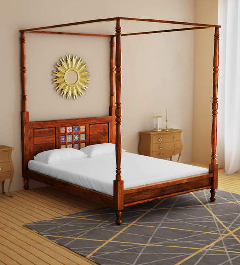 Buy Siramika Solid Wood Queen Size Poster Bed In Honey Oak Finish By